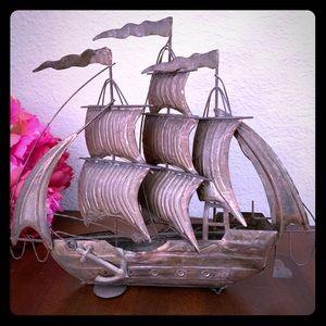 """Copper art sailboat 11"""" long unique metal art"""